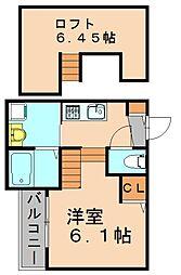 福岡県福岡市博多区那珂6の賃貸アパートの間取り