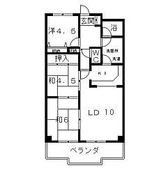 メルシー瀬田[5階]の間取り