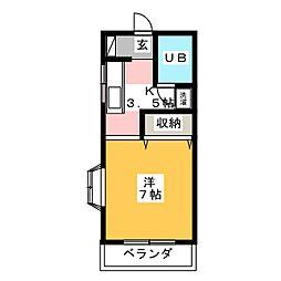 パープルハイツ[2階]の間取り