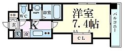 Luxe江坂II 2階1Kの間取り