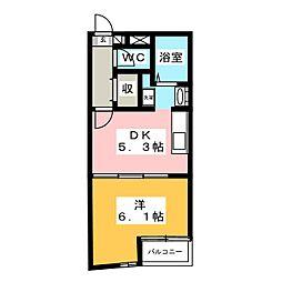 アート・フル所沢ヒルズ 5階1DKの間取り