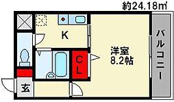 カノン白木原[4階]の間取り