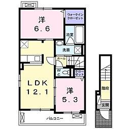 大阪府枚方市田口2丁目の賃貸アパートの間取り