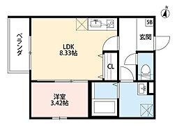 南海高野線 北野田駅 徒歩10分の賃貸アパート 3階1LDKの間取り