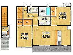 兵庫県伊丹市昆陽南4丁目の賃貸アパートの間取り