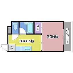 バンドーム大津和[4階]の間取り