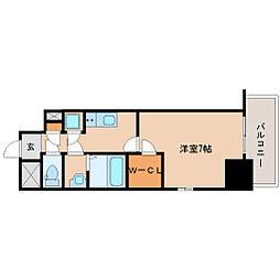 阪神本線 尼崎駅 徒歩6分の賃貸マンション 6階1Kの間取り