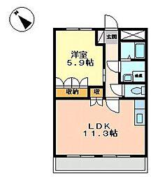 響ガーデンレジデンス[2階]の間取り