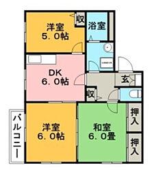 フラワーコーポ[1階]の間取り