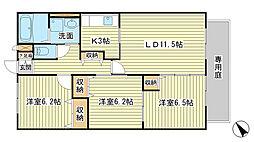 兵庫県姫路市花田町一本松の賃貸アパートの間取り