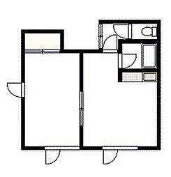 ポプラマンション 2階1DKの間取り