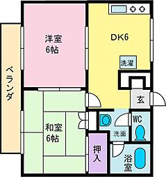 ハイツナバテックパート2[2階]の間取り