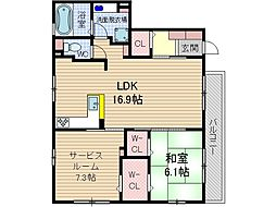 シャトーUMAKAWA[2階]の間取り