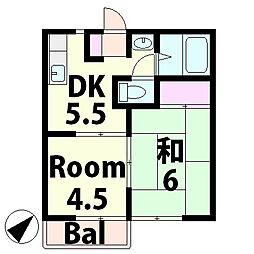 ハイツ島田[2階]の間取り