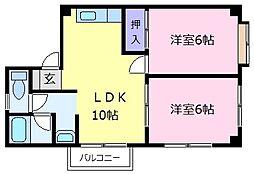 ヘレンド5 3階2DKの間取り
