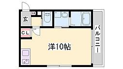 ワコーレヴィアーノ須磨関守町2丁目 2階ワンルームの間取り