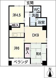 マンション緑黒石C棟[8階]の間取り