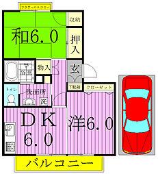 ティアラK-1[105号室]の間取り