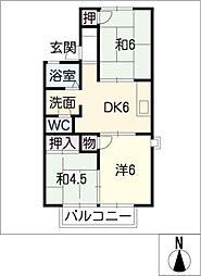 シャトーアサヒII[2階]の間取り