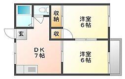 岡山県岡山市南区福吉町の賃貸アパートの間取り