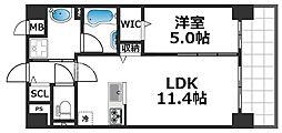 グランパシフィック花園Luxe 3階1LDKの間取り