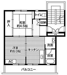 ビレッジハウス篠山1号棟 4階2DKの間取り