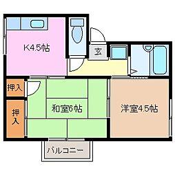 プレジール堀木[2階]の間取り