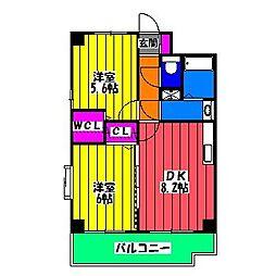 福岡県福岡市博多区井相田3丁目の賃貸マンションの間取り