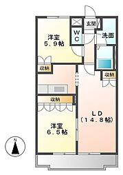 三重県津市一志町高野の賃貸アパートの間取り
