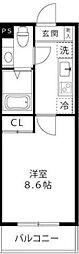 小田急小田原線 新百合ヶ丘駅 徒歩13分の賃貸マンション 3階1Kの間取り