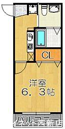 福岡市地下鉄七隈線 野芥駅 徒歩3分の賃貸アパート 2階1Kの間取り