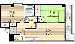 ドムール三国2番館 3階2LDKの間取り