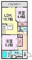 仮称東淀川区豊里Droom 2階2LDKの間取り