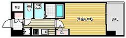 エステムコート難波ウエストサイドVIIグローブ 5階1Kの間取り