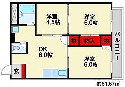 ユマニテハウス[1階]の間取り