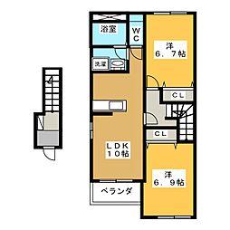 仮)各務おがせ町S様新築アパート[2階]の間取り