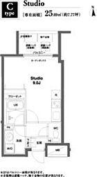 東京メトロ日比谷線 八丁堀駅 徒歩2分の賃貸マンション 3階ワンルームの間取り