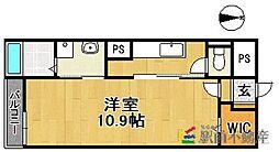 西鉄天神大牟田線 西鉄久留米駅 徒歩10分の賃貸マンション 2階1Kの間取り