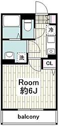 JR横須賀線 保土ヶ谷駅 徒歩15分の賃貸アパート 1階1Kの間取り