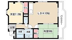 愛知県長久手市仏が根の賃貸アパートの間取り