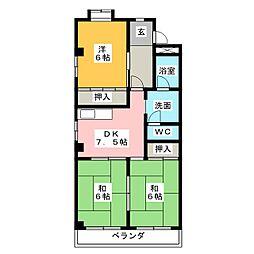 愛知県名古屋市中川区万場5の賃貸マンションの間取り