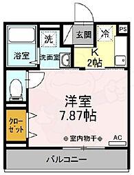 京王線 国領駅 徒歩4分の賃貸アパート 3階1Kの間取り