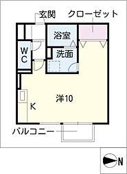 メ−プルA長篠[1階]の間取り