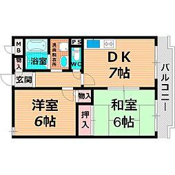 Osaka Metro長堀鶴見緑地線 蒲生四丁目駅 徒歩8分の賃貸マンション 4階2DKの間取り