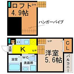 愛知県名古屋市南区三条2丁目の賃貸アパートの間取り