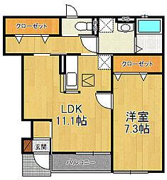 兵庫県尼崎市富松町1丁目の賃貸アパートの間取り