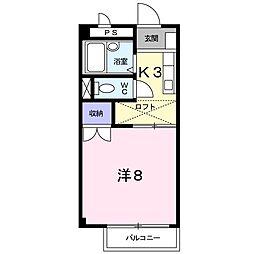JR山陽本線 新下関駅 徒歩24分の賃貸アパート 2階1Kの間取り