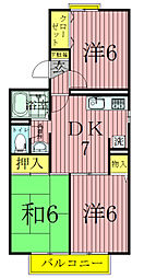 メゾン駒木A[1階]の間取り