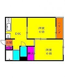 カワサキコーポ[3階]の間取り