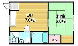 セトハイツ 2階1DKの間取り